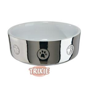 Comedero plateado para perros y gatos AP155539