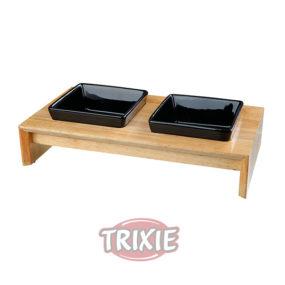 Comederos de ceramica en soporte de madera AP155543