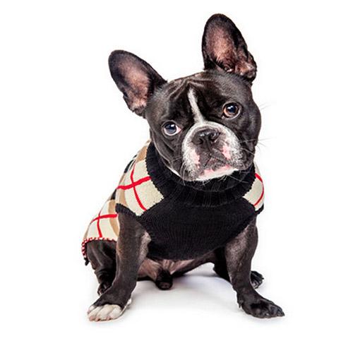 Jersey para Perro de Cuadros Beige Negro