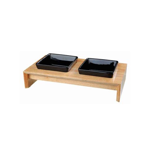 Set de 2 comederos madera y cerámica